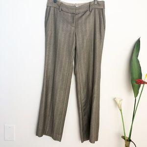 LOFT Herringbone Wide Leg Marisa Gold Dress Pants
